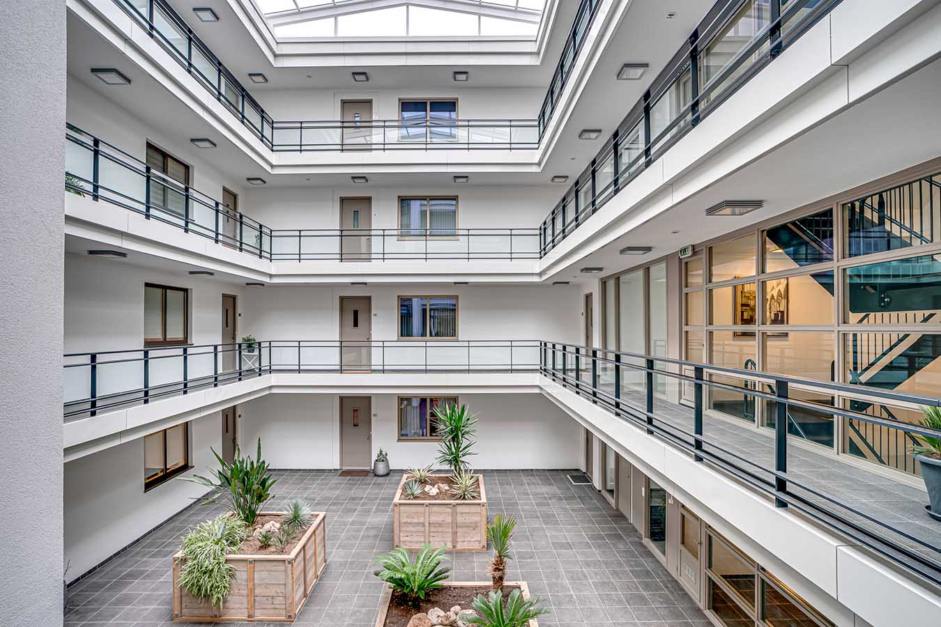 Binnenplaats van appartementen