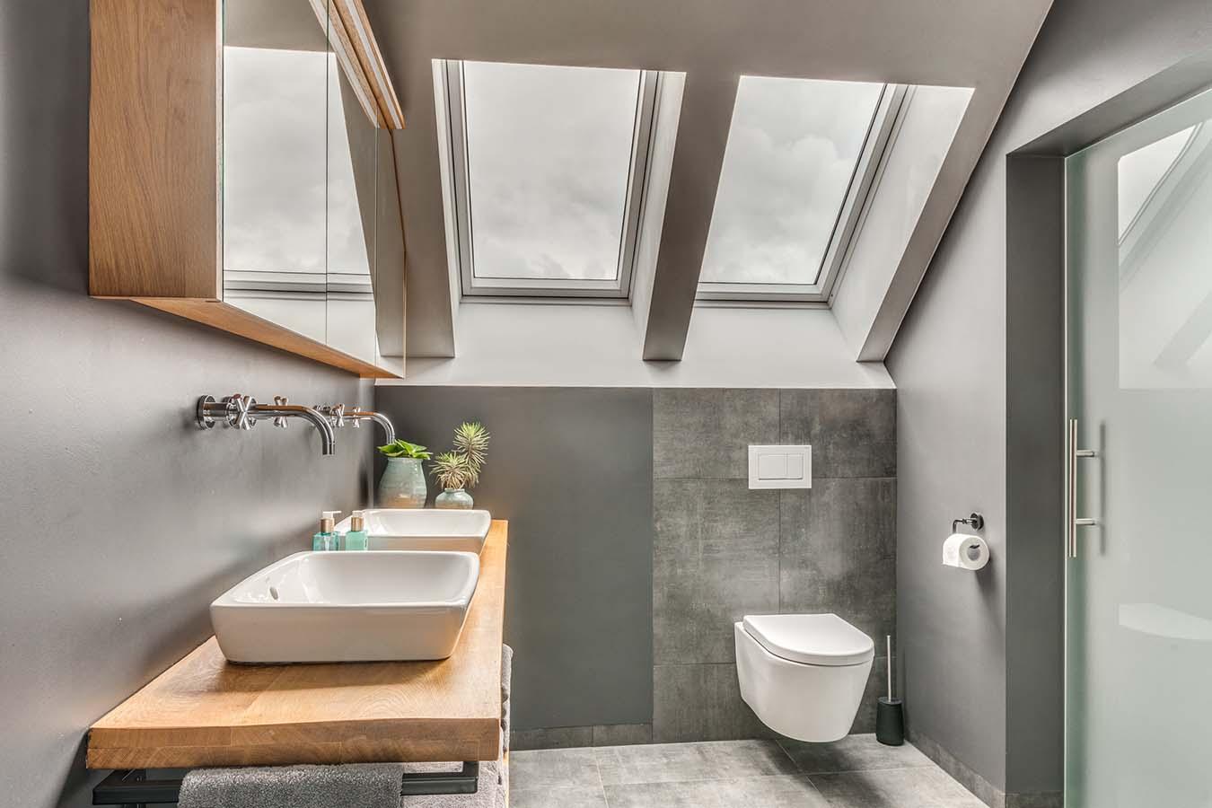 Toilet met moderne wastafel