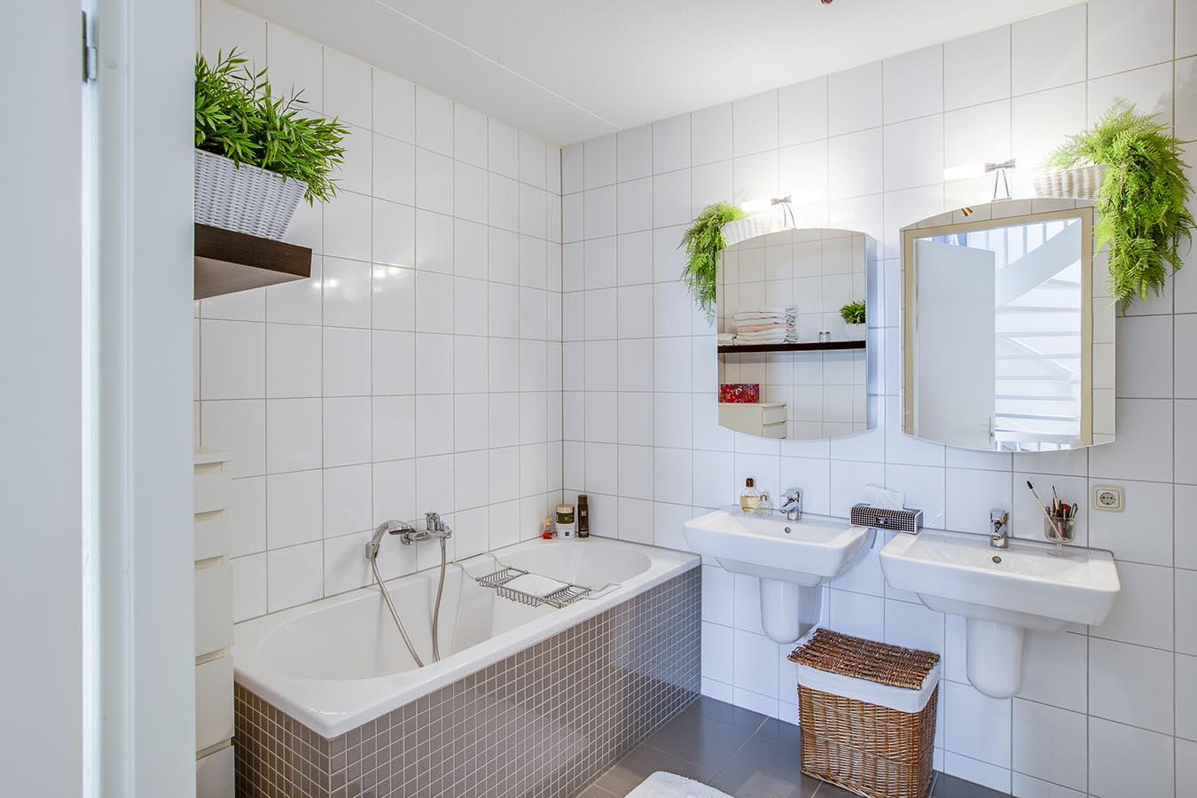 2 losse gootstenen in een badkamer