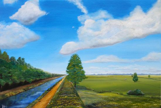 Hollands schilderij van een veld