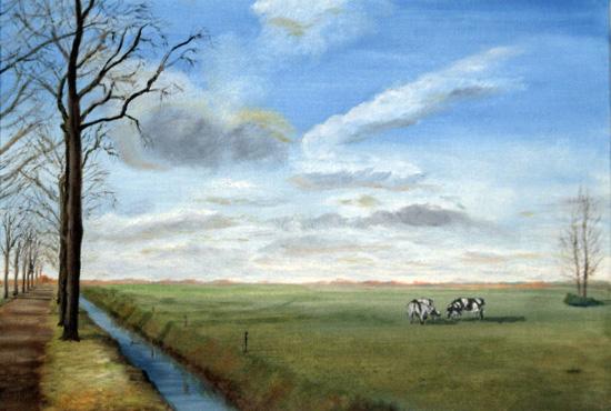 Schilderij van een weiland in het najaar