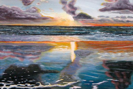 schilderij van een strand met zonsondergang