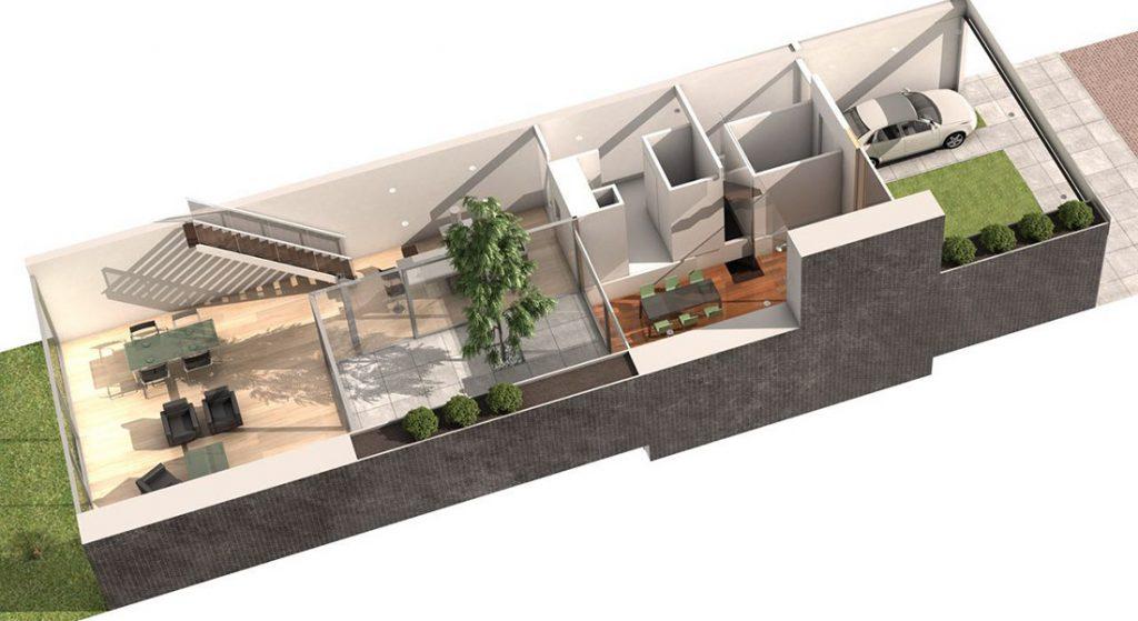 3d plattegrond inclusief garage en tuin